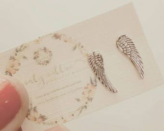 Tiny angel wing handmade earrings - wing studs - angel wing - angel earrings