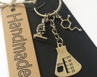 Science Gift Microscope Keyring Scientist