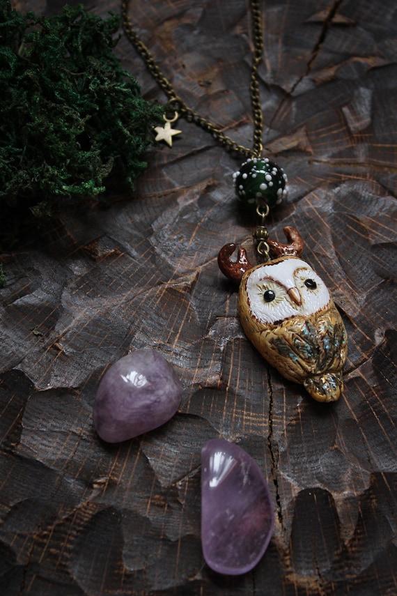 Owl Necklace, Barn Owl Pendant, Polymer Clay Owl Necklace, Cute Owl Pendant, Pagan Owl Necklace, Witch Owl Charm, Totem Owl Jewelry