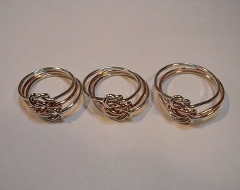 Set of 3 Triple Love Knot Rings in Sterling Silver & Pure Copper