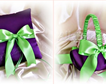 Weddings ring pillow and flower girl basket purple and green wedding accessories ring cushion and basket set