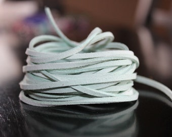 5 yds faux suede cord, light cyan, about 3 mm wide, 15 ft