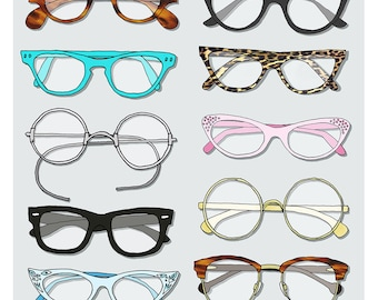 Collect of Vintage Glasses print