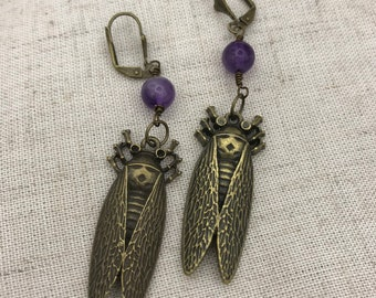 Cicada earrings, insect earrings, dangle earrings, amethyst earrings,