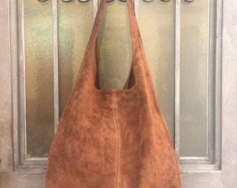 Large TOTE leather bag in  BROWN. Genuine leather bag. Boho bag. Laptop bags in suede. Large suede leather bag.  BROWN suede bag.