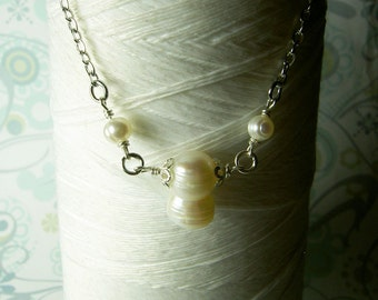 HALF PRICE - Double The Pleasure - white pearl necklace / pearl necklace / freshwater pearls  / wedding necklace / organic pearls
