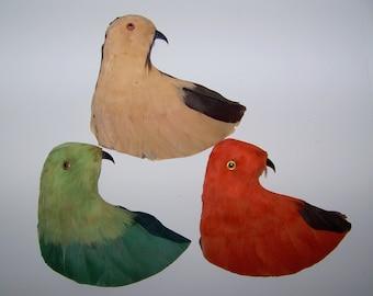 Vintage Millinery  Feather Bird Head Trim NOS Fancy 3 Colors Reversible Colors