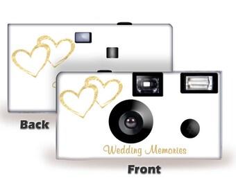 5 Cameras Gold Hearts Wedding Disposable Camera-FUJI color film, w/flash-can be personalized-wedding camera, Anniversary,  (F50349-5PK)