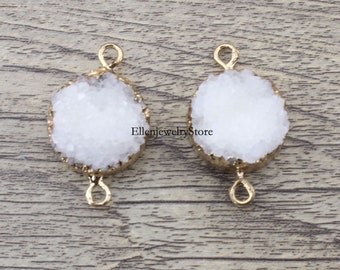 New 1Pcs 20mm White Agate Round Druzy Drusy Druzzy Slice Electroplated 24K Gold Plated Double Bail Connector-TR183