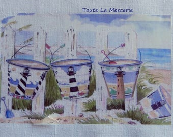 Transfer to fabric linen/cotton style sea, sand...