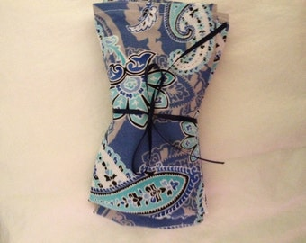 Blue Paisley Cloth Napkins Set of Two