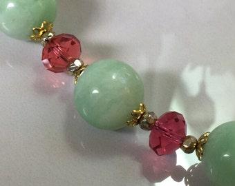 Bloom: Jade and Rose Swarovski Crystal Rondelle Beaded Necklace