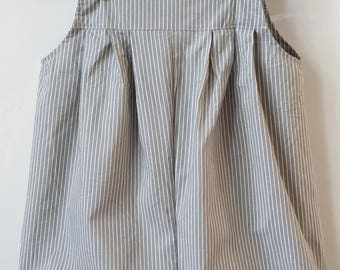 Lightweight and adjustable gray striped romper