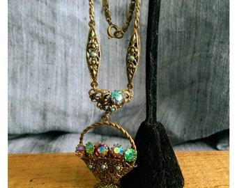 Pretty vintage 1930s Czech glass filigree flower basket pendant necklace