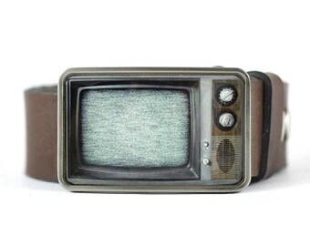 RetroTV Belt Buckle, Television Belt Buckle, gift for him, mens belt buckle