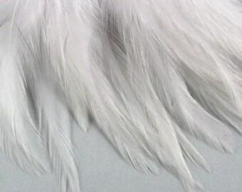 50 Premium White Feathers Saddle Feathers wedding feathers