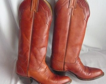 Vintage Justin SKINNY LEG Cowboy Boots / size 6 Eu 36  Uk 3 .5 / Rockabilly Western Hand Lasted / All Leather Rust Brown