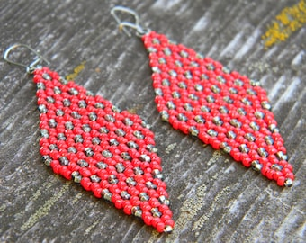 Red and Gunmetal Seed Bead Diamond Earrings