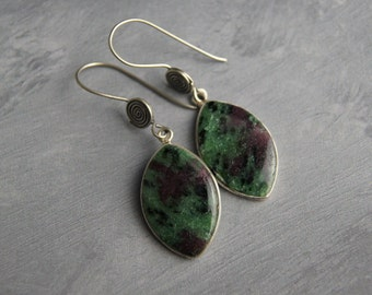 Ziosite Gemstone Dangle Earrings