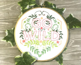 Hand Embroidered Wall Art Go Wild with Greenery, Home Decor, Floral Wall Art, Green and Orange, Modern Leaf Art