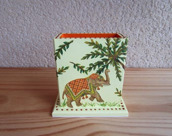 Door-remote control box or pencil holder wooden elephant themed.