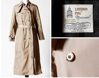 Vintage Women's London Fog Trench Coat - 80's Retro Size 8 Medium M Made in USA