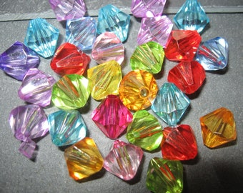 25 12 mm mixed acrylic faceted bicone beads