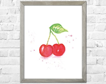 Fruit Watercolor Print, Cherry Watercolor Painting, Botanical Watercolor, Kitchen Wall Art, Watercolor Cherry Print, Kitchen Decor