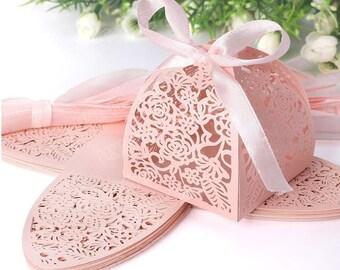 50pcs/Lot Wedding Decoration Chocolate Box Candy Box 3D hollow  Ribbon Laser Cutting Gift Box For Wedding Favor Box-Birthday Party -Gift Box