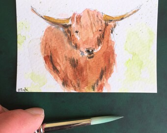 Highland cattle ORIGINAL Miniature Watercolour ACEO Scottish cattle art Watercolor painting For him For her Home decor Wall art Gift Idea