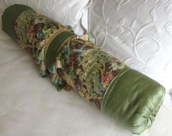 green silk and vintage tapestry decorative Bolster Pillow 6x28 ooak