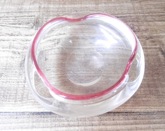 Vintage clear glass bowl with cranberry edging
