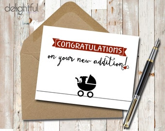 Instant Download Congratulations New Dog New Puppy Baby Card / Congratulations / New Addition / Dog Lovers - Printable