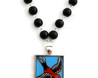 Vintage Tattoo Sparrow Necklace, Ladies Retro, Rockabilly, Black Beaded, Tattoo Art, Bird, Swallow