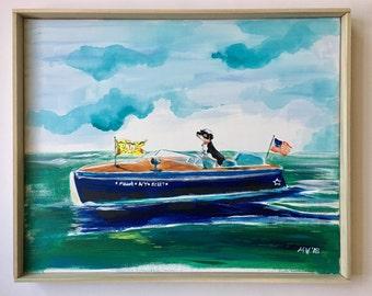 Original Painting, Hawk in Montauk, boat art, room decor, housewares, baby and kids rooms, Safari, Lions, Giraffe, Cheetah, Hawk