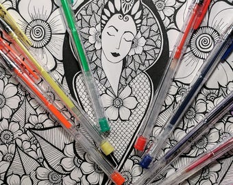 Printable Coloring Page -  Coloring Pages - The Goddess Anneke INSTANT DOWNLOAD