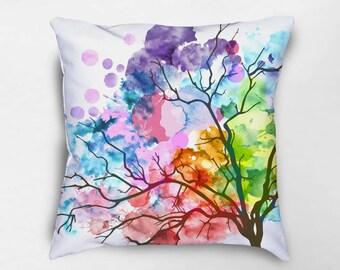 Watercolor Tree Throw Pillow, Watercolor Pillow, Nature Pillow, Colorful Pillows, Modern Throw Pillows, Art Pillow, Housewarming Gift