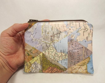 World map zipper pouch, clutch, map card wallet, world traveler gift, travel accessory, map collage, world map purse, foreign maps