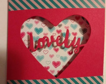 Lovely Mother's Day Card, cut out, hearts, trifold, hot pink, teal