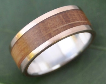 Size 7.75, 8mm READY TO SHIP Bourbon Barrel Ring with Yellow Gold and Silver - 14k gold and Kentucky Bourbon Barrel Whiskey Wood Ring