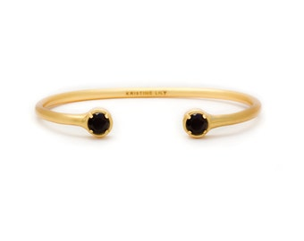 Gemstone Bangle - Yellow Gold Bangle - Adjustable / Malleable Bangle Cuff Bracelet - Natural Black Onyx Gemstones
