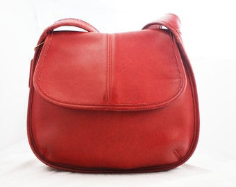 Red Leather Coach - Ergo Flap Travel bag with shoulder strap