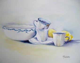 Watercolor porcelain, still life oil painting, original painting porcelain 18, 5 x 26, 5 cm