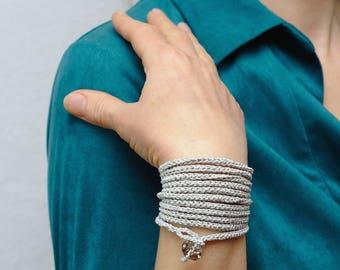 best friend gift for women bracelet Wrap Crochet bracelet Layered bracelet Gray bracelet Casual bracelet Simple bracelet Friendship bracelet