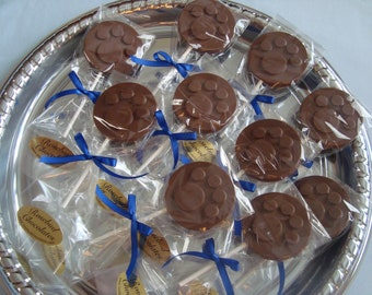 12 Paw Print CHOCOLATE Lollipops Blues Clues Dog Favors Birthday Candy Favors Puppy