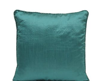Light Teal Pillow Cover Teal Throw Pillow Teal Bead Pillow Minimalist Pillow Modern Decor Home Decor Teal Lumbar Pillow Teal Euro Sham