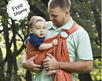 Bibetts Pure Linen Ring Sling Baby Carrier 'Adobe Orange' - CPSIA compliant - Infant, Toddler and Baby Carrier