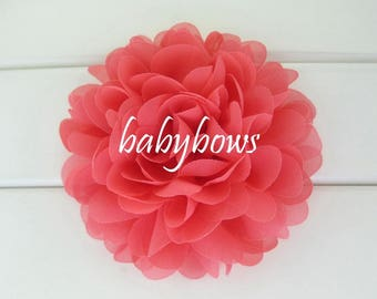 5x Coral Big Flower Baby Girl Hair Clips
