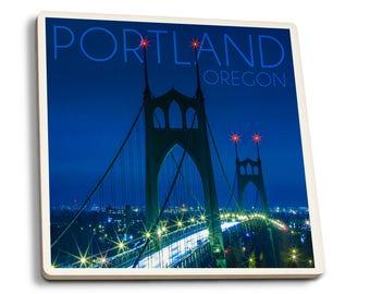 Portland OR St Johns Bridge Night - LP Photography (Set of 4 Ceramic Coasters)