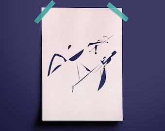 Japan Samurai Harakiri Seppuku Warrior Sword Print Art Illustration